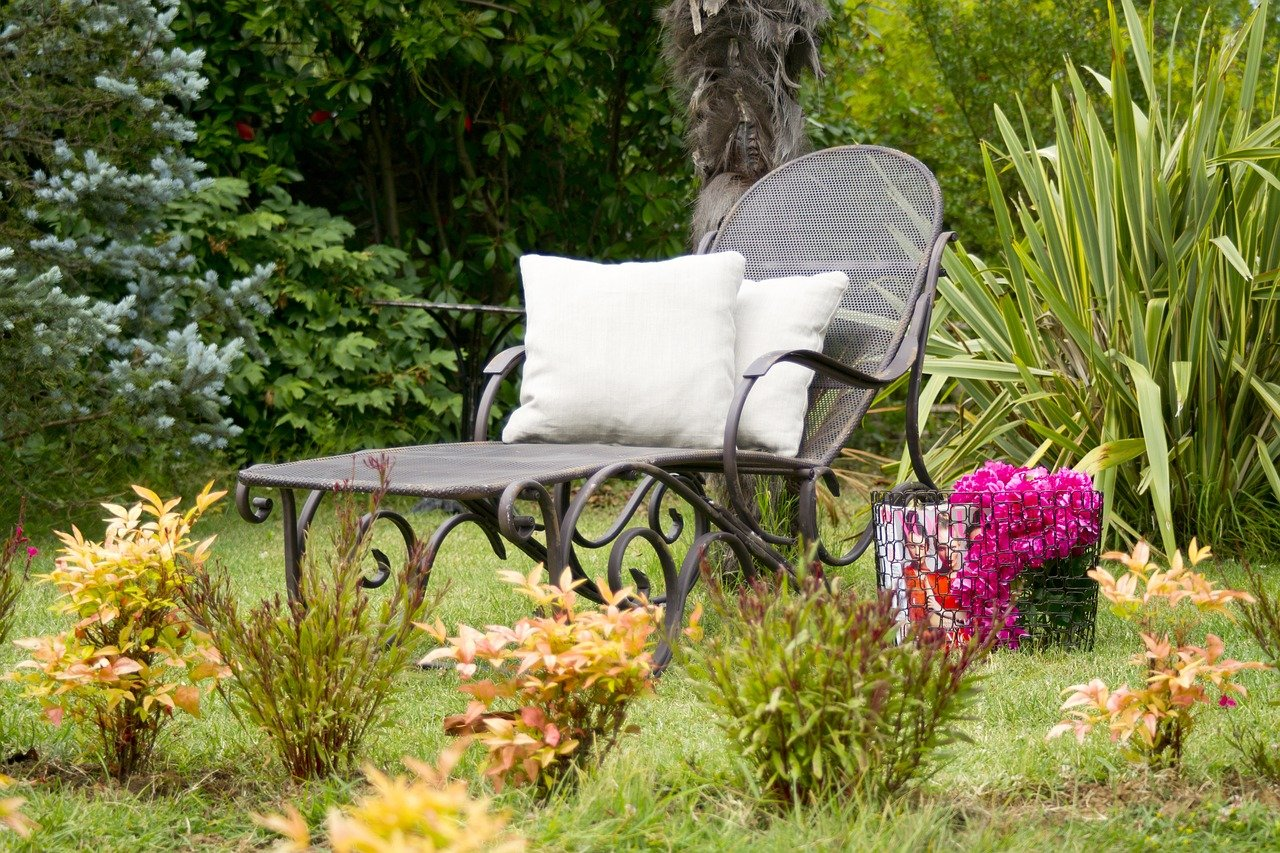 sunbeds, pillow, garden